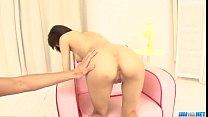 Miriya Hazuki gets down on two studs after harsh masturbation