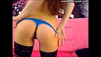 Cute tiny brunette teen with pink dildo