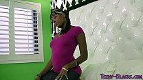Ebony teen rides n jerks