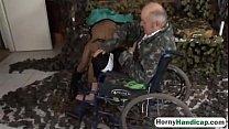 Amputee fucking brunette teen riding wheelchair...