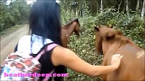 HD Heather Deep 4 wheeling on scary fast quad and Peeing next to horses in the thumbnail