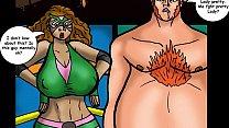 Big Tit Superheroine Takes Two Huge Cocks (Comic)