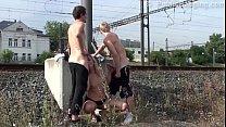 Cum on a MILF face in PUBLIC street threesome sex by a train station pornhub video