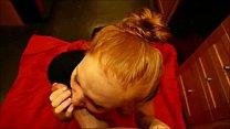 Petite Ginger Blowjob & Cum Swallow POV
