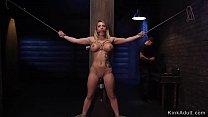 Big tits blonde beauty gets slave training