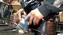 Leather dressed power tool masterbation
