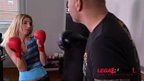 Slim petite blonde babe Missy Luv rides boxing ... Thumbnail