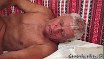 Teen sucks floppy grandpa video