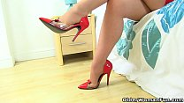 English milf Red finger fucks her pantyhosed fanny porn image