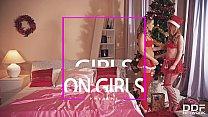 Leggy Lesbians Athina & Ella Hughes Ride Gigantic Double Dong On XXXmas