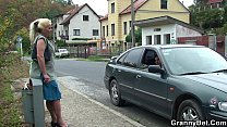 Hitchhiking old granny and boy