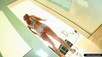 Pervert blonde wife wetting and sucking her short bikini