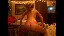 blonde teen shaking her ass n thong dancing