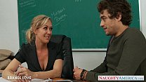 Image: Blonde teacher Brandi Love riding cock in classroom