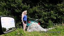 Busty blonde teen bangs stranger outdoor Thumbnail