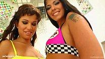 Лесбиянки с двойным страпоном мульт
