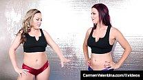 Lesbian Wrestler Carmen Valentina Tongue Fucks Sarah Brooke