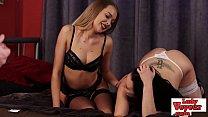 Bored lingerie babes teasing femdom cock