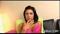 Lewd playgirl licks a hard boner Thumbnail