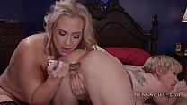 Huge metal dildo in blondes ass
