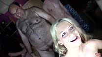 Sweet Jane's first Bukkake, the blue-eyed blonde bathes in cum's Thumb