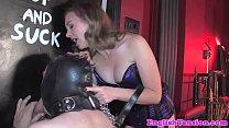Mistress dominates bound sub with gloryhole