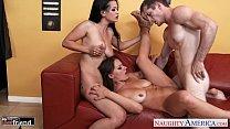 Gorgeous brunettes Katrina Jade and Kayla West share cock Vorschaubild