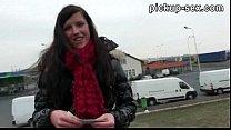 Pretty amateur brunette Czech girl Morgan Blanchett fucked for cash thumbnail