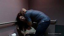 Rough sex with redhead in public bathroom