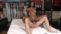 Ebony teen with amazing boby Ivy Sherwood plays with big white cock