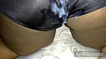 Cum on Juicy Lucys silky black panties thumb