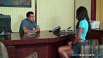 Deepthroating s choolgirl drilled on table ed on table