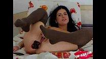 Hot brunette does hot anal show on webcam