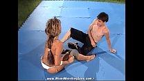 Wild hottie Artemis got this guy down on the mat