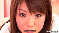 Slutty Asian babe sucking her bro's meaty rod