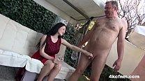 Hot Babe Sucks Old Cock in the Backyard - CFNM Thumbnail