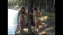 2 naked blond girl outdoor