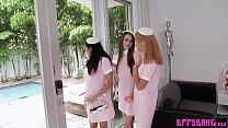 Stunning teen stewardesses fucked their lucky frined