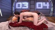 Dark haired solo babe takes machine anally thumb