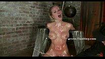 Slut tied like a hog with ropes