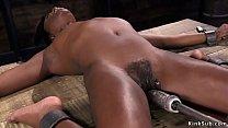 Hairy ebony slave rides fucking machine - download porn videos
