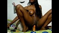 Busty ebony babe rides dildo on webcam