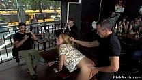 Big tits blonde  takes dp in public bar blic bar