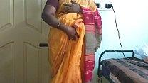desi  indian horny tamil telugu kannada malayalam hindi cheating wife vanitha wearing orange colour saree  showing big boobs and shaved pussy press hard boobs press nip rubbing pussy masturbation Thumbnail