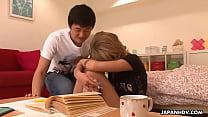 Japanese student, Yuri Kurosaki sucked her teacher's fat dick, uncensored