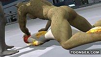 3D Cartoon Alien Vixen Getting a Double Teaming