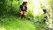Urinating lez toy outdoor