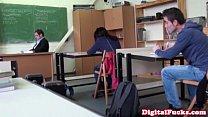 Brunette schoolgirl fucks cock in class