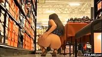 big ass girl on a store showing her ass