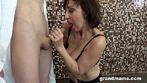 Horny granny fucks step nephew in the shower thumb